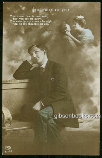 YOUNG VICTORIAN MAN WITH THOUGHTS OF YOU, Postcard