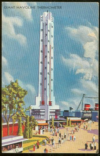 CENTURY OF PROGRESS, GIANT HAVOLINE THERMOMETER, Postcard
