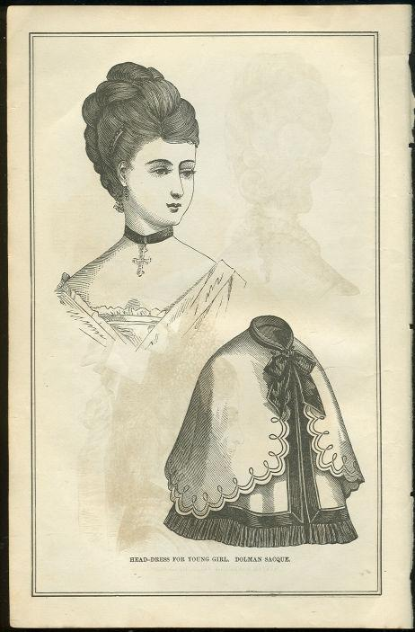 HEAD DRESS FOR YOUNG GIRL PAGE FROM 1876 PETERSON'S MAGAZINE