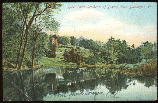 ROCK POINT, RESIDENCE OF BISHOP HULL, BURLINGTON, VERMONT, Postcard