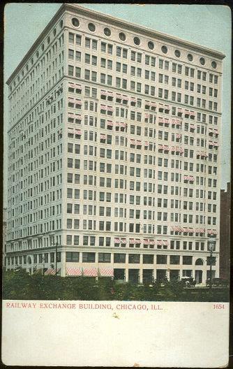 RAILWAY EXCHANGE BUILDING, CHICAGO, ILLINOIS, Postcard