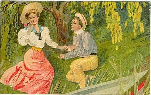 COURTING COUPLE ON RIVERBANK, Postcard