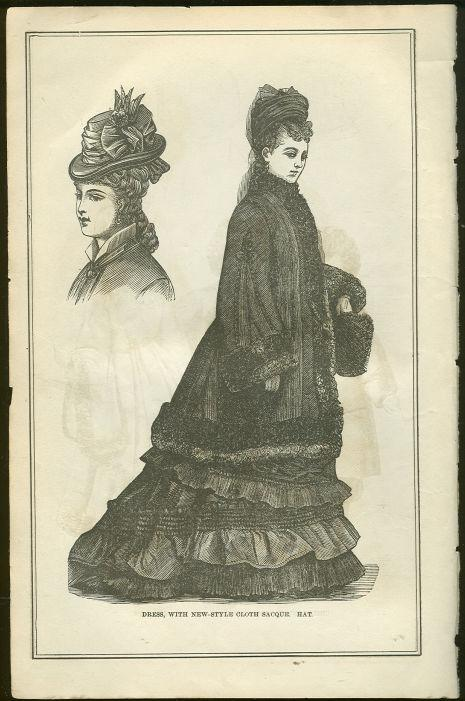 DRESS WITH HAT COSTUME PAGE FROM 1876 PETERSON'S MAGAZINE