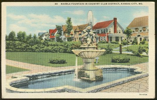 MARBLE FOUNTAIN IN COUNTRY CLUB DISTRICT KANSAS CITY, MISSOURI, Postcard