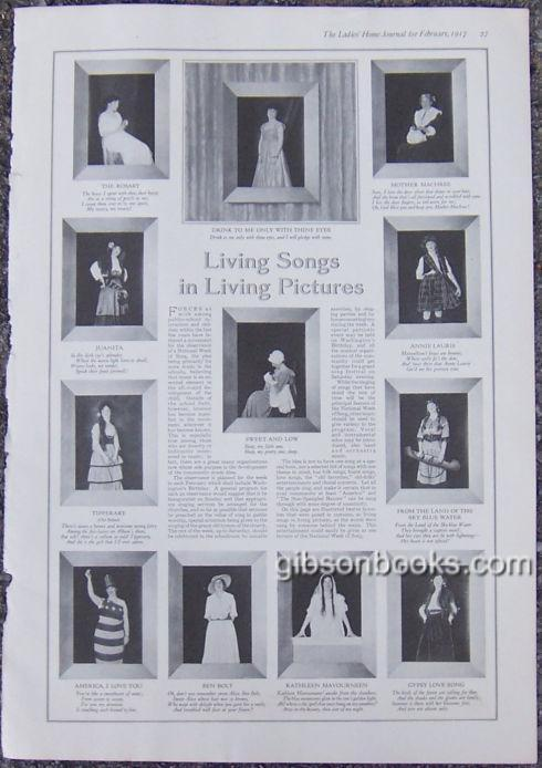 1917 LADIES HOME JOURNAL PAGE WORLD OF LIVING SONGS IN LIVING PICTURES, Advertisement