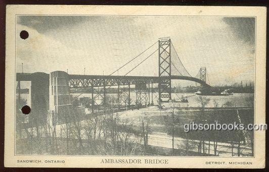 AMBASSADOR BRIDGE BETWEEN SANDWICH, ONTARIO AND DETROIT, MICHIGAN, Postcard
