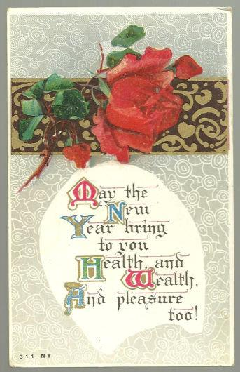 VICTORIAN NEW YEAR POSTCARD WITH RED ROSE AND GOLD, Postcard