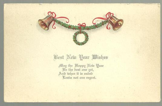 BEST NEW YEAR WISHES POSTCARD WITH GOLDEN BELLS, Postcard