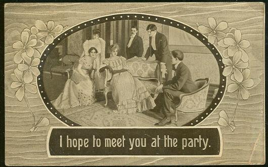 VICTORIAN POSTCARD I HOPE TO MEET YOU AT THE PARTY, Postcard