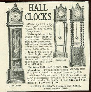 1901 LADIES HOME JOURNAL HALL CLOCKS BY A LINN MURRAY MAGAZINE ADVERTISEMENT, Advertisement