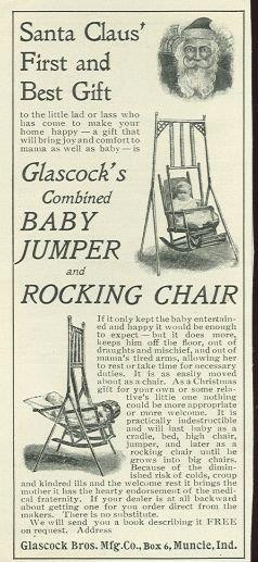 1901 LADIES HOME JOURNAL GLASOCK'S COMBINED BABY JUMPER AND ROCKING CHAIR MAGAZINE ADVERTISEMENT, Advertisement