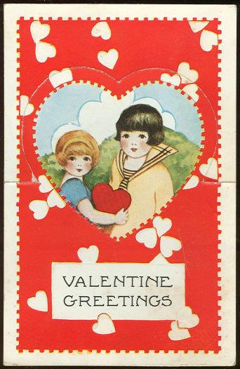 VINTAGE VALENTINE CARD OF LITTLE GIRL AND LITTLE BOY WITH POP OUT HEART