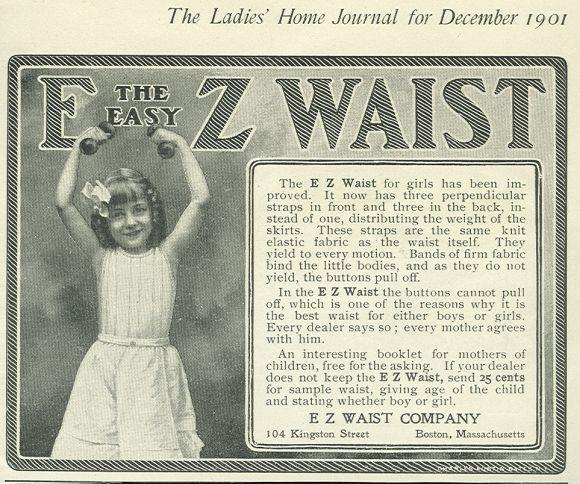 1901 LADIES HOME JOURNAL E Z WAIST FOR GIRLS MAGAZINE ADVERTISEMENT, Advertisement