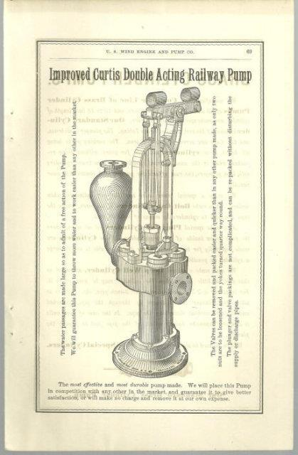 ANTIQUE PRINT OF IMPROVED CURTIS DOUBLE ACTING RAILWAY PUMP FROM 1879 CATALOGUE