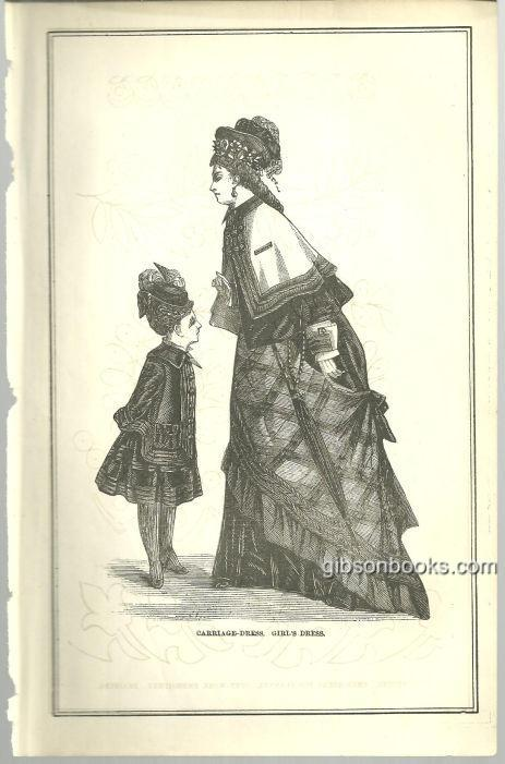 CARRIAGE DRESS AND GIRL'S DRESS 1876 PETERSON'S MAGAZINE