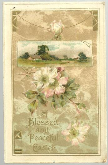 BLESSED AND PEACEFUL EASTER POSTCARD WITH FLOWERS AND PASTORAL SCENE, Postcard