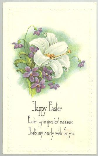 POSTCARD - Happy Easter Postcard with Lily and Violets