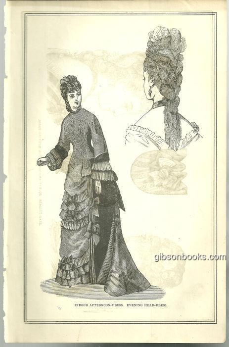 INDOOR AFTERNOON DRESS AND EVENING HEAD-DRESS 1876 PETERSON'S MAGAZINE