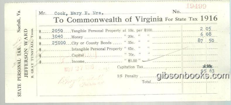 1916 STATE PERSONAL TAX BILL TO THE COMMONWEALTH OF VIRGINIA, Ephemera