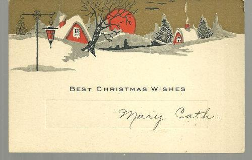 VINTAGE BEST CHRISTMAS WISHES CARD WITH SNOWY TOWN, Christmas