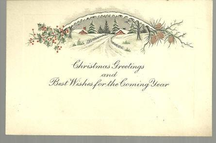 VINTAGE CHRISTMAS GREETINGS CARD WITH SNOWY LANDSCAPE, Christmas