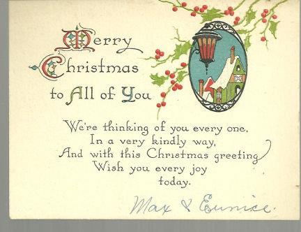 MERRY CHRISTMAS TO ALL OF YOU CARD WITH SNOWY TOWN, Christmas
