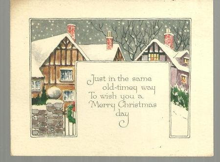 VINTAGE OLD TIMEY MERRY CHRISTMAS CARD WITH SNOWY TOWN, Christmas
