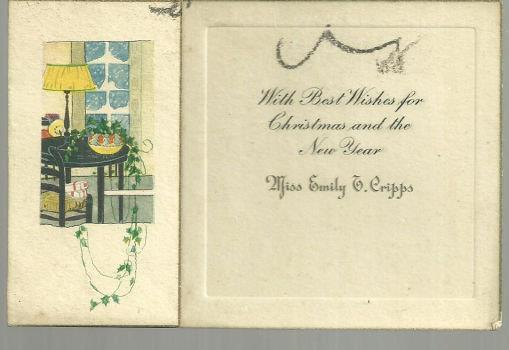 VINTAGE MERRY CHRISTMAS AND NEW YEAR CARD WITH HOUSE, Christmas
