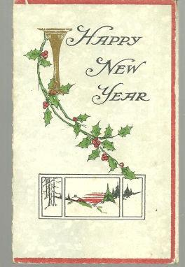 VICTORIAN NEW YEAR GREETING CARD WITH HOLLY AND SNOW, Christmas
