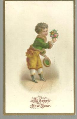VICTORIAN NEW YEAR CARD WITH SMALL BOY WITH BOUQUET, Christmas