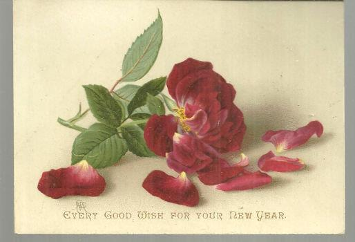 VICTORIAN GOOD WISH FOR NEW YEAR CARD WITH RED ROSE, Christmas