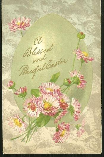 BLESSED AND PEACEFUL EASTER POSTCARD WITH PINK FLOWERS, Postcard