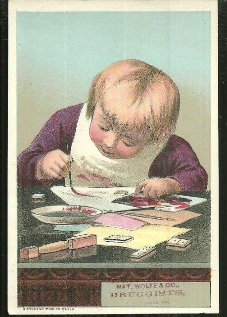 VICTORIAN TRADE CARD FOR NAT. WOLFE & CO., DRUGGISTS, Advertisement