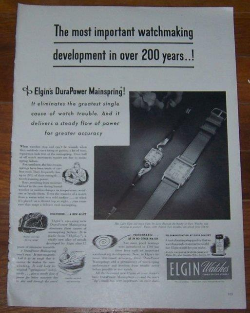 1947 ELGIN WATCHES LIFE MAGAZINE ADVERTISEMENT, Advertisement