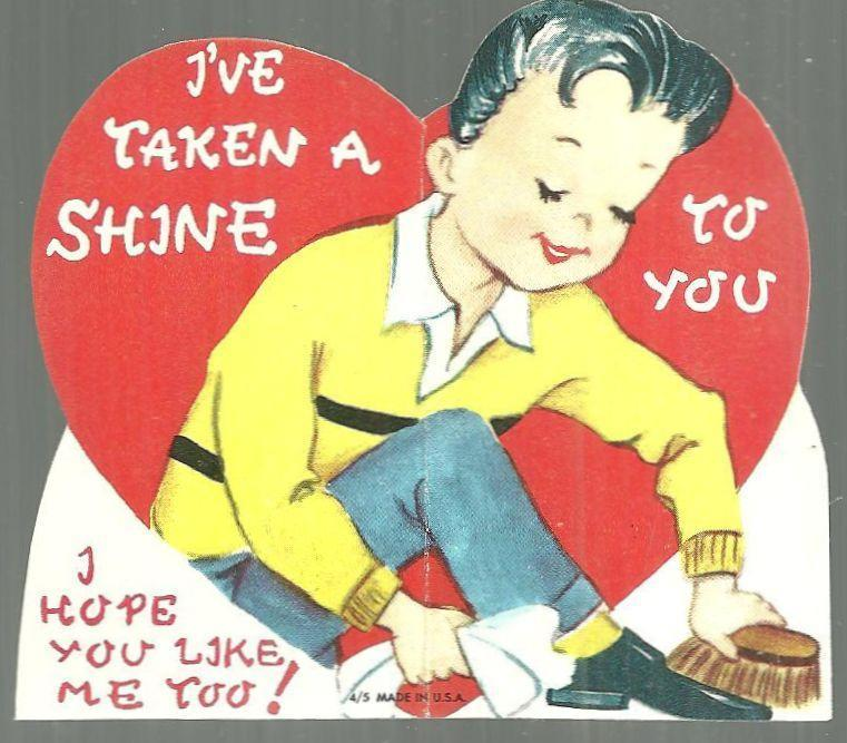 VINTAGE VALENTINE WITH BOY SHINING SHOES, Valentine