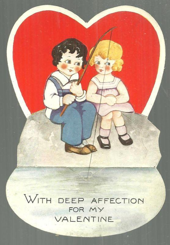 VINTAGE VALENTINE WITH BOY AND GIRL FISHING, Valentine