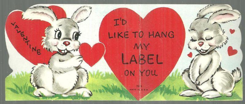 VINTAGE VALENTINE CARD WITH BUNNY RABBITS, Valentine
