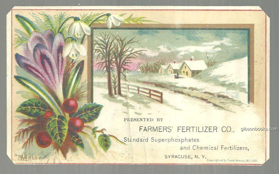 VICTORIAN TRADE CARD FOR FARMERS' FERTILIZER WITH WINTER LANDSCAPE, Advertisement