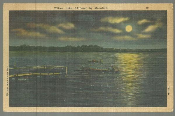 WILSON LAKE, ALABAMA BY MOONLIGHT, Postcard
