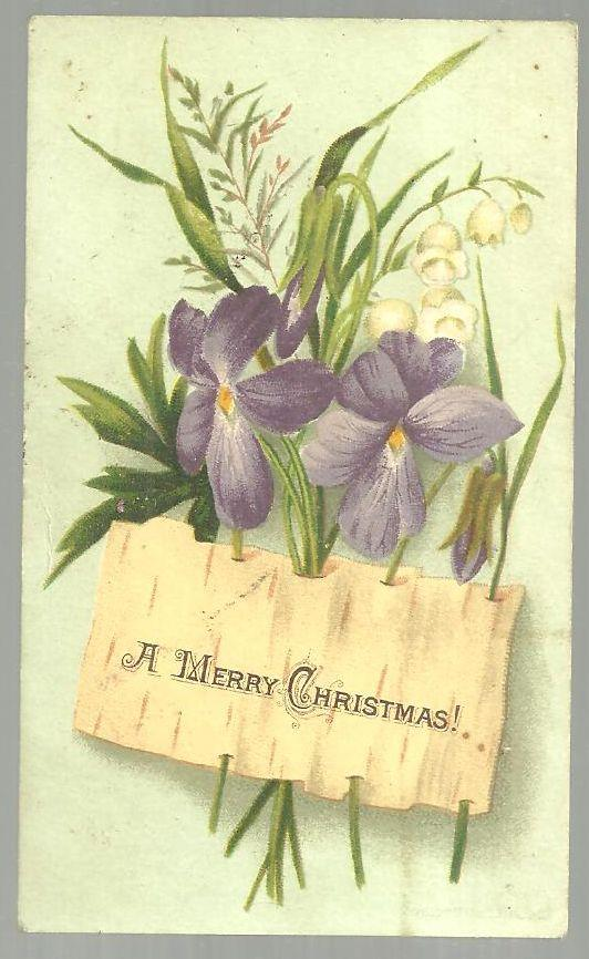 VICTORIAN MERRY CHRISTMAS CARD WITH VIOLETS AND LILY OF THE VALLEY, Christmas