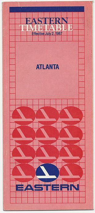 EASTERN AIRLINE TIMETABLE FOR ATLANTA, EFFECTIVE DECEMBER 15, 1988, Eastern Airlines