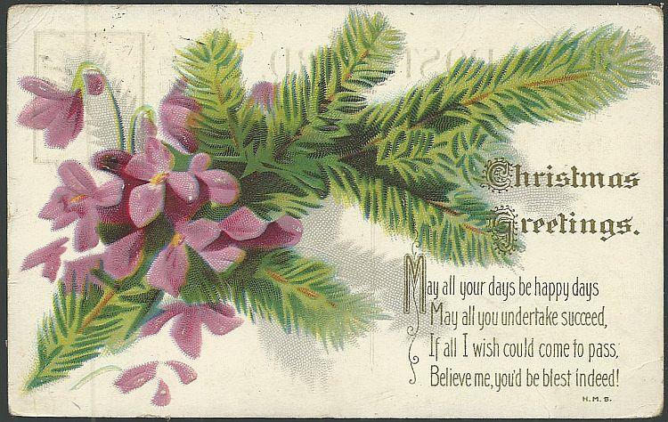 CHRISTMAS GREETINGS POSTCARD WITH VIOLETS AND EVERGREEN, Postcard