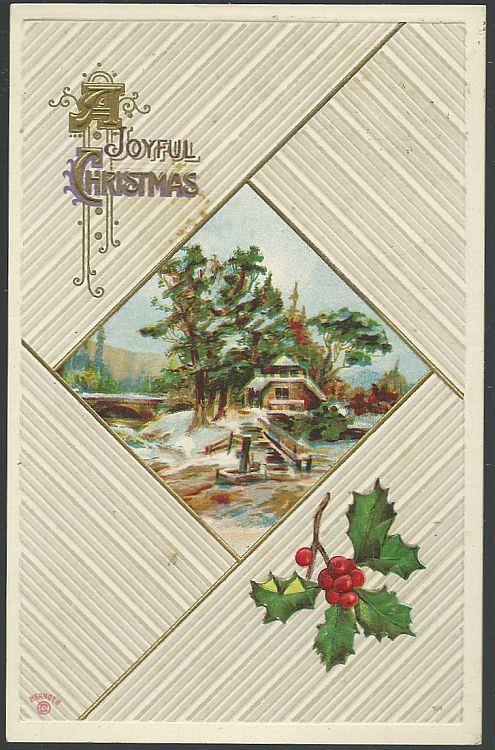 JOYFUL CHRISTMAS SEASON POSTCARD WITH SNOWY LANDSCAPE, Postcard