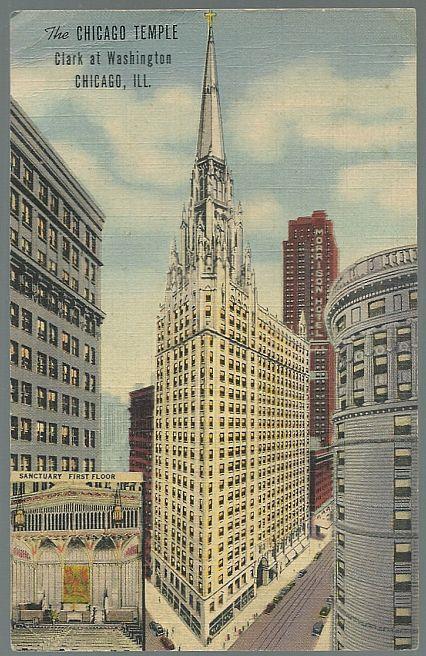CHICAGO TEMPLE, CLARK AT WASHINGTON, CHICAGO, ILLINOIS, Postcard