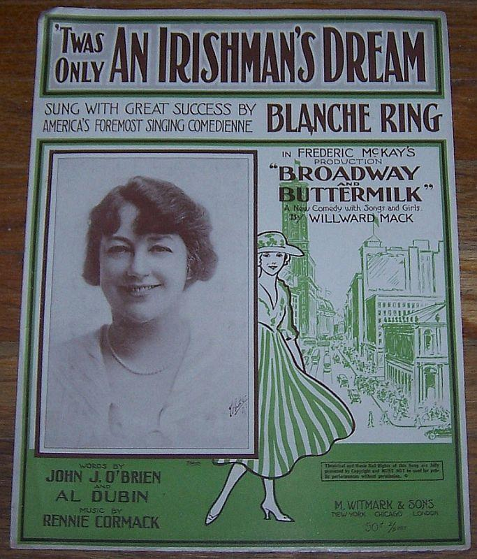 TWAS ONLY AN IRISHMAN'S DREAM, Sheet Music