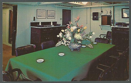 USS ALABAMA BATTLESHIP, CAPTAIN'S CABIN, Postcard