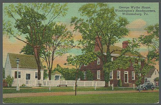 GEORGE WYTHE HOUSE, WASHINGTON'S HEADQUARTERS, WILLIAMSBURG, VIRGINIA, Postcard