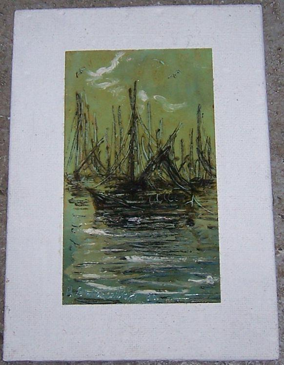 ART - Vintage Signed Matted Green and Black Painting of Harbor Scene with Boats