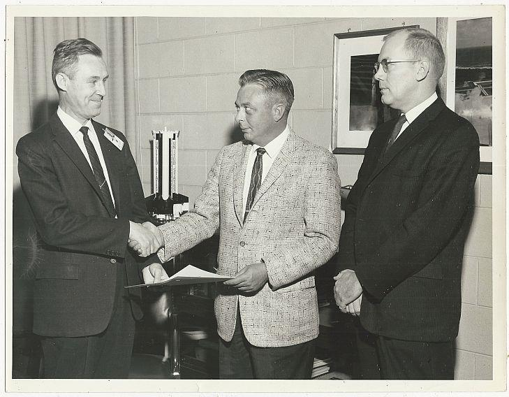 ORIGINAL PHOTOGRAPH OF THREE MEN AT MARSHALL SPACE FLIGHT CENTER, Photograph