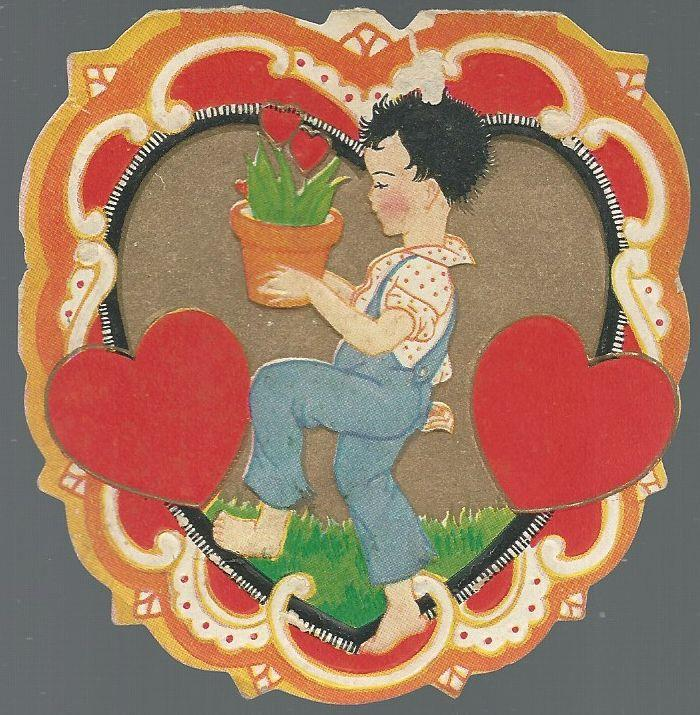 VINTAGE VALENTINE WITH BOY CARRYING POTTED PLANT, Valentine